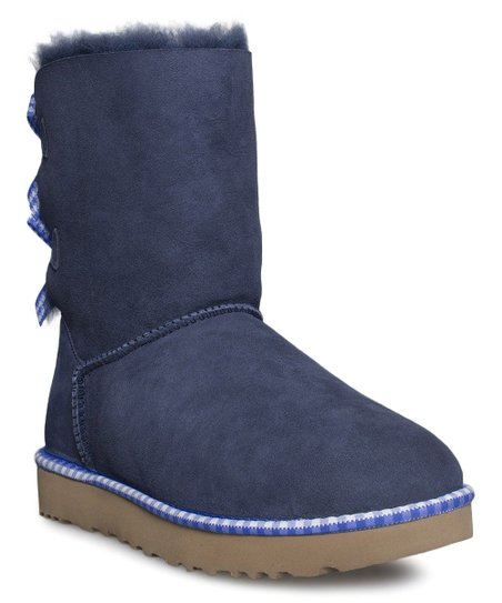 eabb174c4bd UGG® Navy Bailey Bow Gingham Suede Boot - Women
