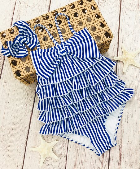 f9f87b281d6 love this product Navy Stripe Tiered-Ruffle Bow One-Piece & Headband -  Toddler & Girls