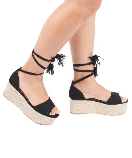 445229b9908 Qupid Black Ankle-Tie Big Bang Wedge Sandal - Women