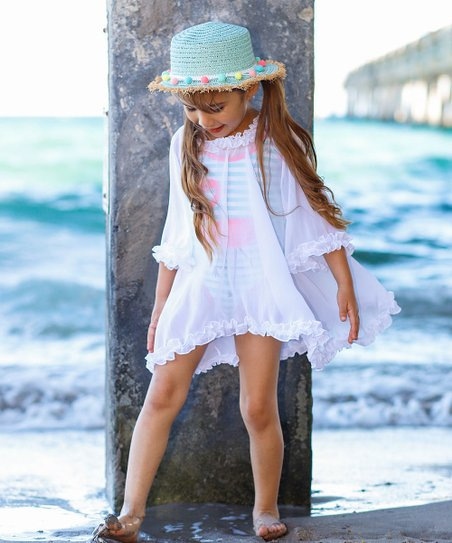 7f5fa93402 Mia Belle Girls White Bell Sleeve Ruffle Cover-Up - Toddler & Girls ...