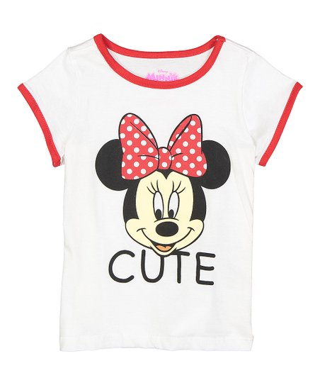 1cf81d246903f love this product Minnie Mouse White & Red 'Cute' Ringer Tee - Toddler &  Girls