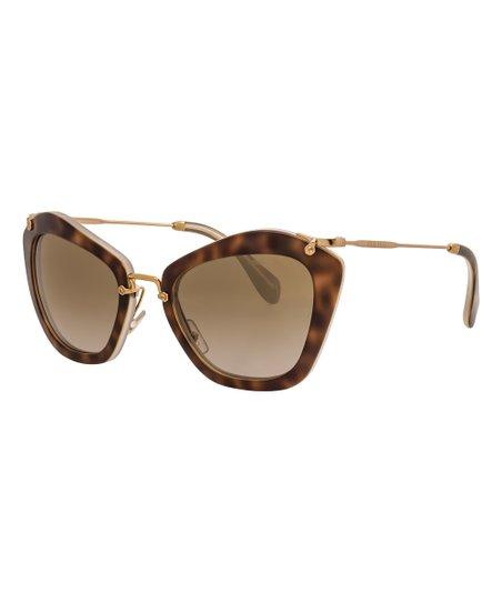 62cddbd1dc66 ... Miu Miu Light Brown Tortoise Cat Eye Sunglasses Zulily