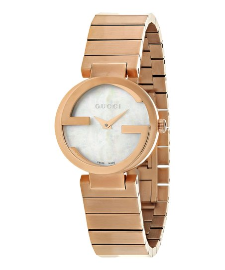 a664151fb39 Gucci Goldtone   Mother Of Pearl Interlocking Bracelet Watch
