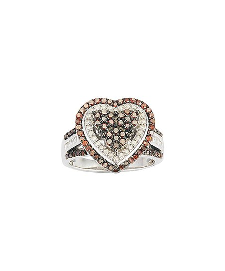 V3 Jewelry 1 Carat Red White Diamond Heart Frame Ring Zulily