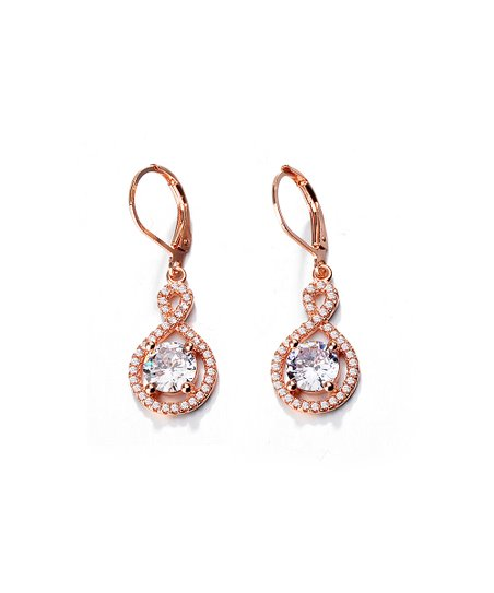f249585e3 18k Rose Gold-Plated Infinity Halo Drop Earrings With Swarovski® Crystals