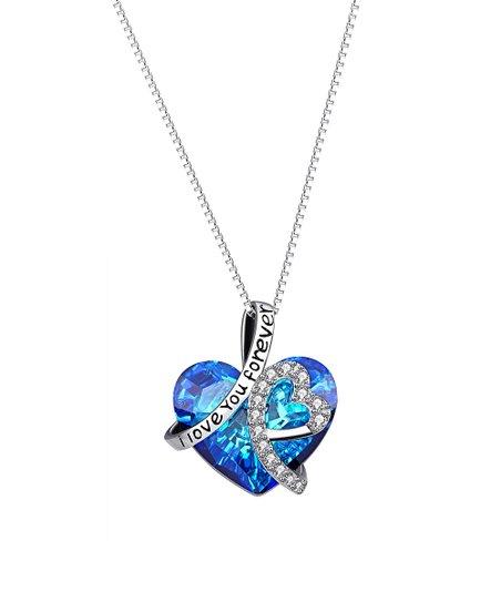 b501af8d7 Golden NYC Blue I Love you Forever Heart Necklace With Swarovski ...