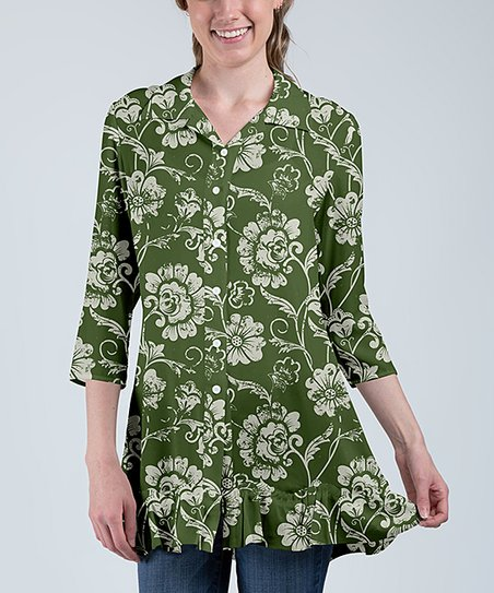 10adfba3 love this product Green & White Floral Ruffle-Hem Three-Quarter Sleeve  Button-Up Tunic - Women & Plus