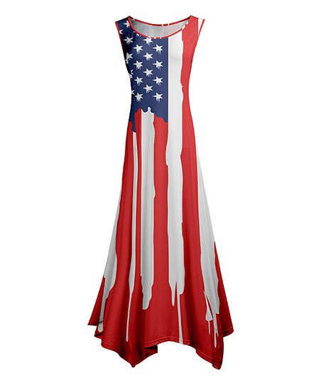 824e577f4be love this product Red   Blue Stars   Stripes Sleeveless Handkerchief Maxi  Dress - Women   Plus