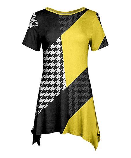 51c440de258 Lily Black & Yellow Houndstooth Geometric Sidetail Tunic - Women ...