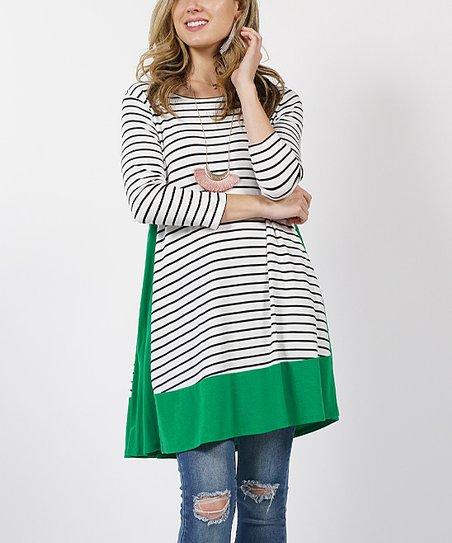 2c786e4fc68 42POPS Kelly Green Contrast Color Panel Stripe Side-Pocket Tunic ...