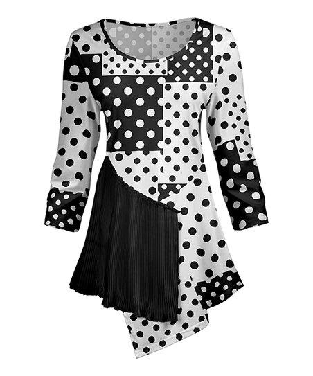 a8d70e3a789 love this product Black & White Polka Dot Ruffle-Accent Tunic - Women & Plus
