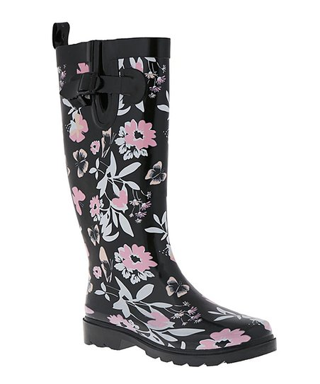 pink and black rain boots