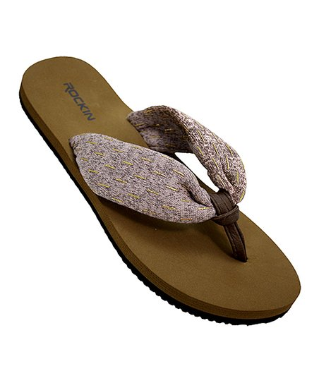 superior performance limited quantity select for best Rockin Footwear Tan Fabric Knot Flip-Flop - Women