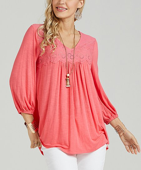 5b0f76e5f4675 love this product Coral Eyelet-Yoke Tunic - Women   Plus