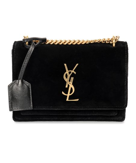 1f34ee39b108 Saint Laurent Black Small Sunset Monogram Velvet Shoulder Bag