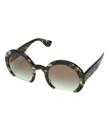 ea5430716 Miu Miu Green & Brown Tortoise Cutout Round Sunglasses | Zulily