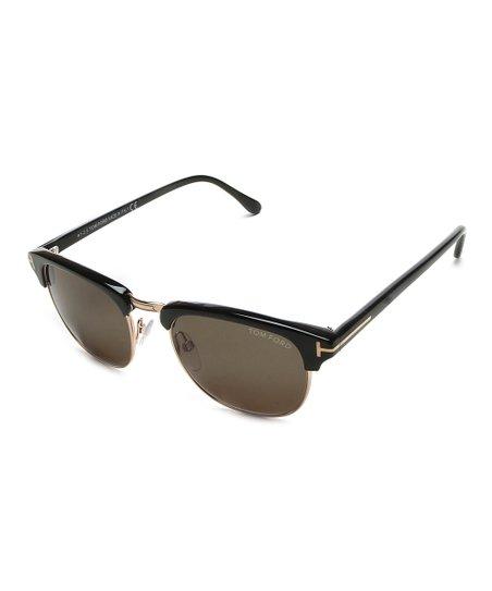 28a5bb5ad7f8 Tom Ford Black   Gold Browline Sunglasses
