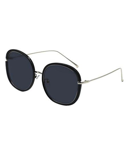 c79866a53d kathy ireland Black   Silver Round Sunglasses