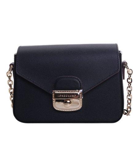b4a25f86edb5 Longchamp Black Push-Lock Leather Crossbody Bag