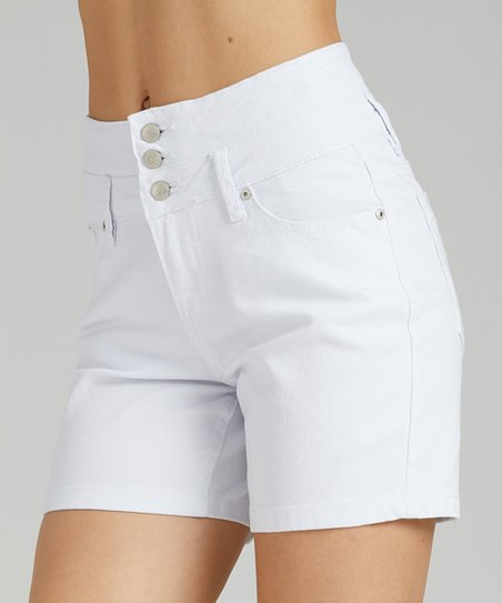outstanding features official supplier affordable price Suzanne Betro White Denim Button-Accent High-Waist Shorts - Women & Plus