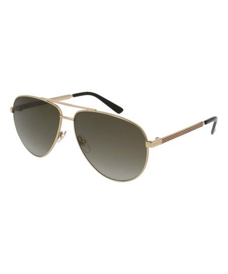 e22e9be3ffe Gucci Gold   Brown Gradient Aviator Sunglasses