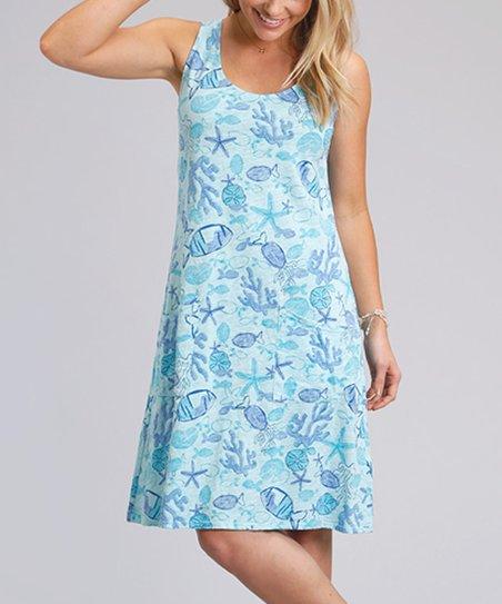d3a71dedd4 Fresh Produce Swimming Pool Blue Sea Life Drape Dress - Women | Zulily