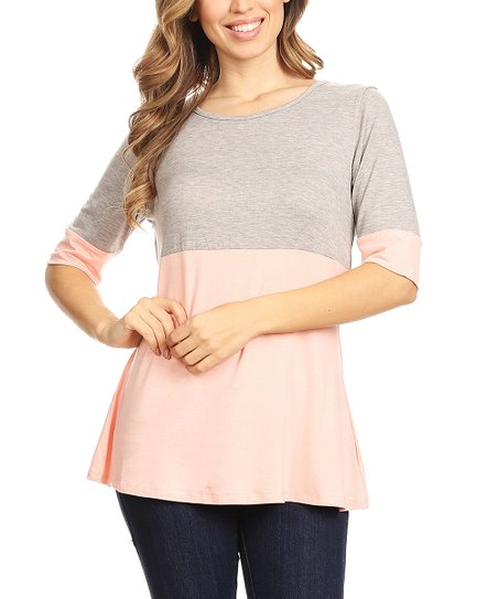 9ad21ef9a62d One Fashion by Cozy Collection Light Gray & Peach Color Block Scoop ...