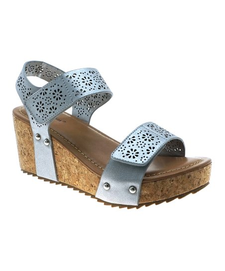 56934cbcd5f love this product Silver Perforated Strap Giselle Wedge Sandal - Women