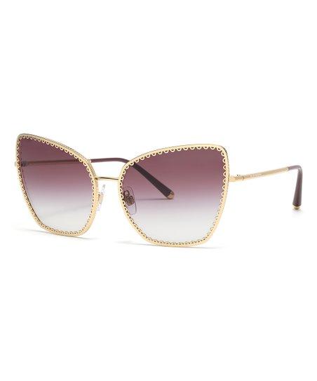 b8d237596862ea Dolce & Gabbana Gold Scallop-Accent Cat-Eye Sunglasses - Unisex | Zulily