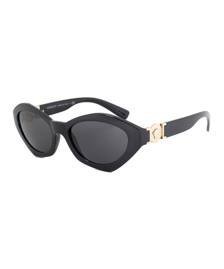 47dce3b943392d love this product Black & Gold Accent Geometric Cat-Eye Sunglasses