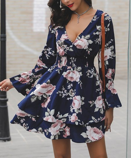 3254dca31cfa love this product Navy   Pink Floral Ruffle Fit   Flare Dress
