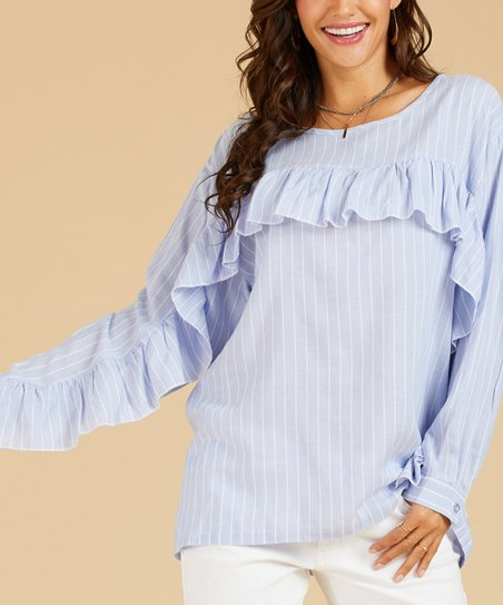 56166a0cd43961 Suzanne Betro Weekend Blue & White Stripe Ruffle Top | Zulily