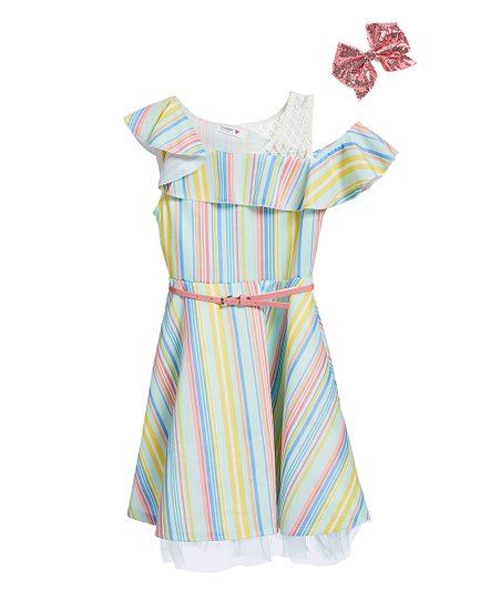 1221ca6bd love this product Mint & Pink Stripe Ruffle Belted Dress & Hair Bow - Girls