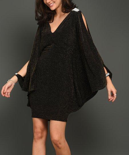 c52e7e813 love this product Black   Orange Sequin Rhinestone-Accent Cape-Sleeve Dress  - Women   Juniors