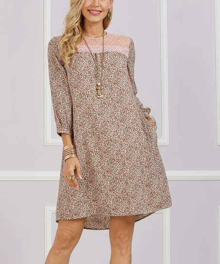 2b8d74afabd1 love this product Pink & Taupe Floral Contrast Block Shift Dress - Women &  Plus
