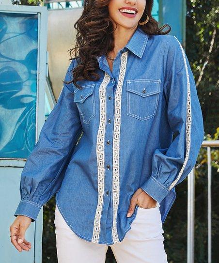 6029442761 Suzanne Betro Weekend Blue Denim Lace-Front Button-Up - Women   Plus ...