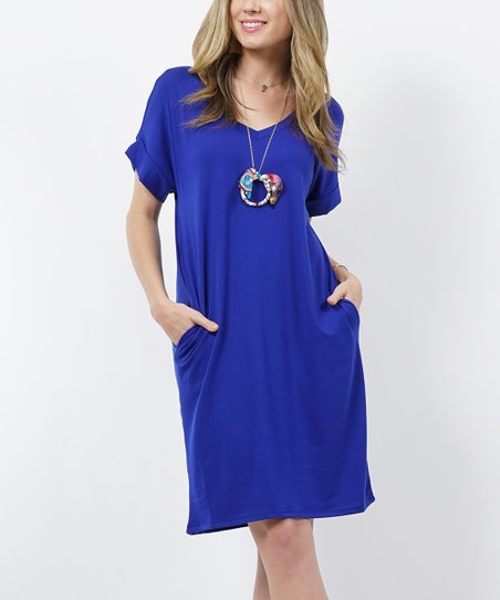 d04ec20af6 love this product Denim Blue V-Neck Roll-Cuff Two-Pocket T-Shirt Dress -  Women   Plus