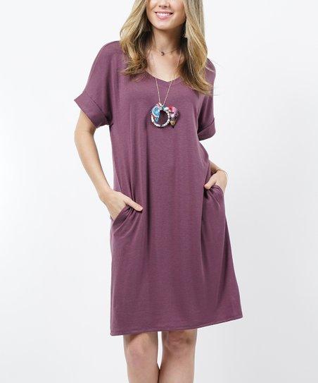 b431ba9c9a91 love this product Eggplant V-Neck Roll-Cuff Pocket T-Shirt Dress - Women
