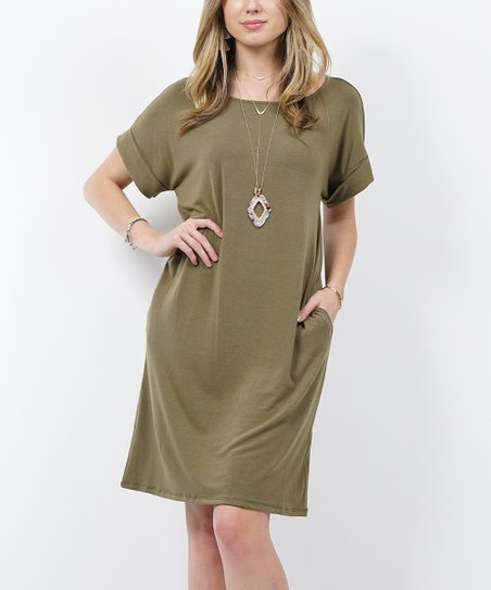 Olive Crewneck Roll-Cuff Pocket T-Shirt Dress - Women   Plus  6cc609e3d2