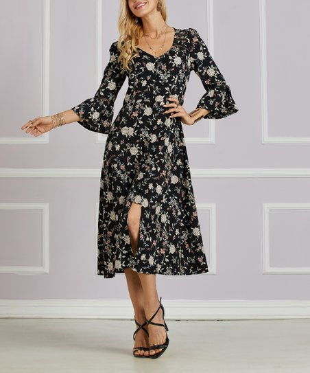 love this product Black Floral Ruffle-Sleeve Crepe Button-Up Midi Dress -  Women   Plus df116d879
