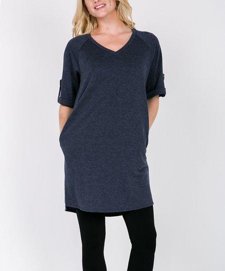 f96d9ddb098 love this product Navy Roll-Tab Sleeve V-Neck Pocket Tunic Dress - Women &  Plus