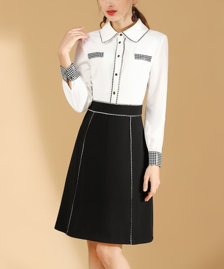 eb867bebcd2 love this product White   Black Embellished Shirt Dress - Women