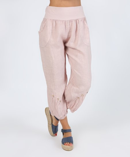 97ccb0e1b96 love this product Pink Button-Accent Linen Harem Pants - Women