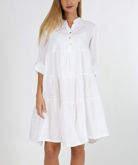 ac73a8897a love this product White Button-Front Linen Shift Dress - Women