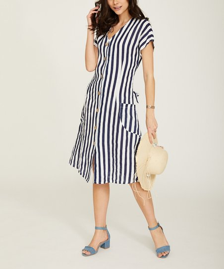 be642f0d24 love this product White Stripe Button-Up Linen V-Neck Dress - Women