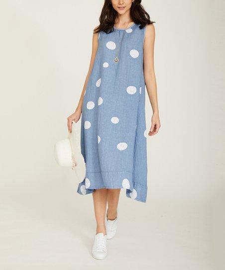 075c41c01be Ornella Paris Blue Jean Polka Dot Sleeveless Maxi Dress - Women ...