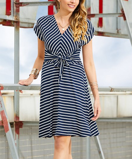 a3ae2783125e love this product Navy & White Stripe Tie-Front V-Neck Dress - Women & Plus