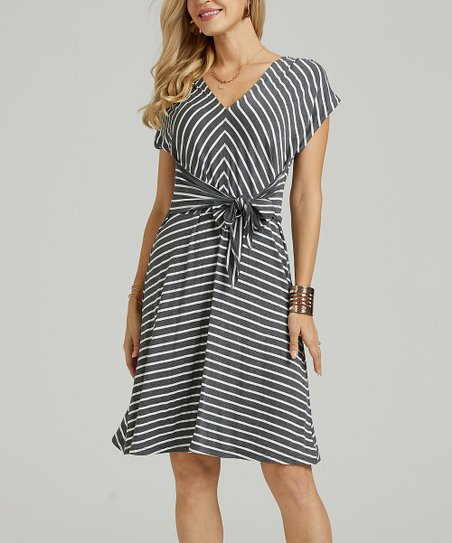 2c89e3e67e3 Suzanne Betro Dresses Charcoal   White Stripe Tie-Front V-Neck Dress ...