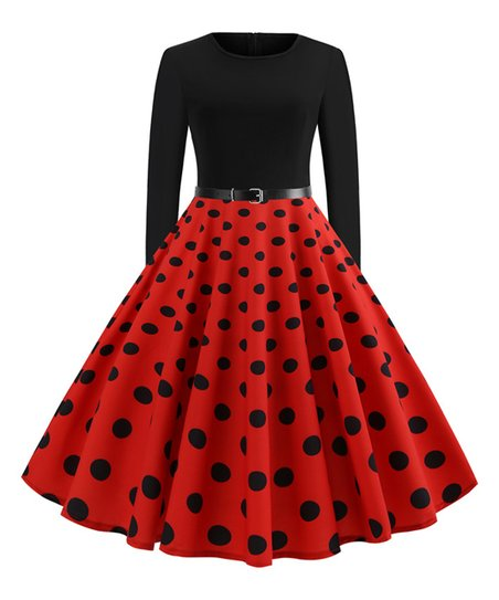 Red Patchwork Flare Skirt
