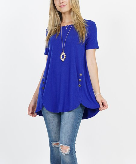 1ff49823b66 love this product Denim Blue Short-Sleeve Button-Accent Tulip-Hem Tunic -  Women   Plus